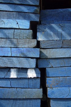 Blue-Tinted Wood Planks