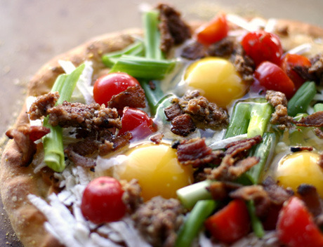waltzingmatildablog:  Bacon, egg, and sausage pizza! Sounds like a great breakfast to me!