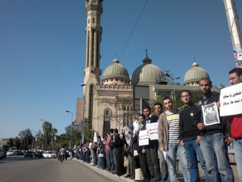 Our silent stand in front of Al Noor mosque in Abasiya Square, in memory of Dr. Alaa Abd El Hady, a martyr.