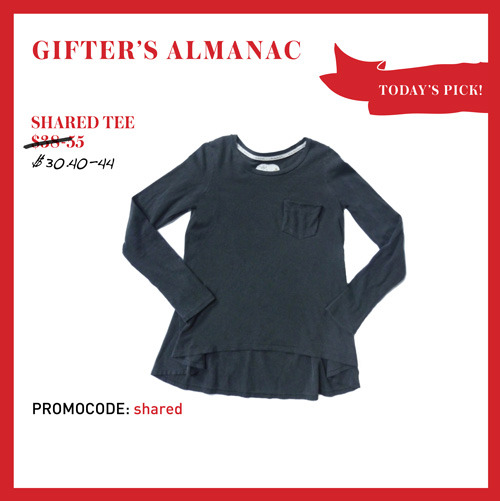DECEMBER 22ND: TODAY'S PICK, SHARED TEES!  Shared tees are our favourite tops of all time. Made from the softest  cotton ever, these beloved basics fit better than any glove! Plus, did  we mention that they're locally made? CLICK HERE TO SCORE 20% OFF