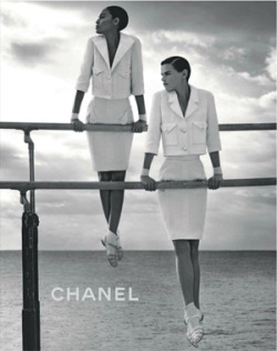 Joan Smalls and Saskia de Brauw do gymnastics in Chanel's new Spring '12 campaign.