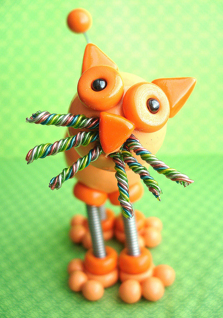 Olzo the cat | Hanging Ornament on Flickr.Via Flickr: Custom commission from an awesome Mom to her son, Olzo the imaginary Cat. Robot sculpture combining polymer clay, wire woven into coil springs, varnish and a little heart handmade by HerArtSheLoves.Twitter | Facebook