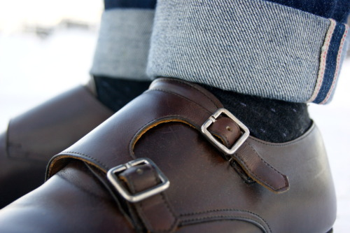sartorialdoctrine:  Details Double monk straps + Selvedge Denim = Success.   Pants too long? Cuff them.