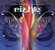 "(via / a RootsWorld review of World Music) ""Najma Akhtar and Gary LucasRishte World Village  ( www.worldvillagemusic.com) A blend of India and blues? Why not? Many a more far-fetched fusion has  succeeded. Besides, vocalist Najma Akhtar and guitarist Gary Lucas have  always been amenable to stretching out, with Akhtar's heavenly wail  nailing everything from ghazals to techno to a collaboration with Robert  Plant and Jimmy Page and Lucas providing picking for artists as diverse  as Captain Beefheart and Jeff Buckley. Rishte is actually a simple  affair: Lucas' guitars and Akhtar's voice are joined only by a rotating  trio of tabla players, violin on two tracks and an occasional drone, and  it's the stripped-down approach that makes the album pure dynamite. The  two main ingredients play off each other with a mixture of familiarity  and surprise, not only in the way Lucas' spirited playing often jolts  Akhtar and the tabla accompaniment to a level funkier than even  Bollywood, but how Akhtar returns the favor by bringing out a more  finessed side of Lucas that could have him matching chops with any  Indian classical master…"""