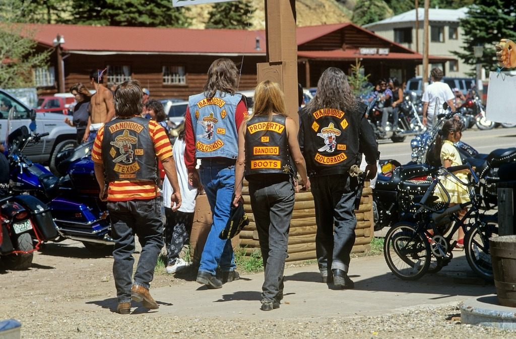 Bandidos at the Red River Run New Mexico. Each Memorial Day there is a weekend gathering of Bikers in Red River near to Taos New Mexico. This was a smaller (5-6,000) rally with very little commercialisation and when I first went there there was drag racing along Main St in between the only two Bars in town. The next time I went the cops had tightened things up a lot and clamped down on a lot of the fun. Such is the way of the world I guess.