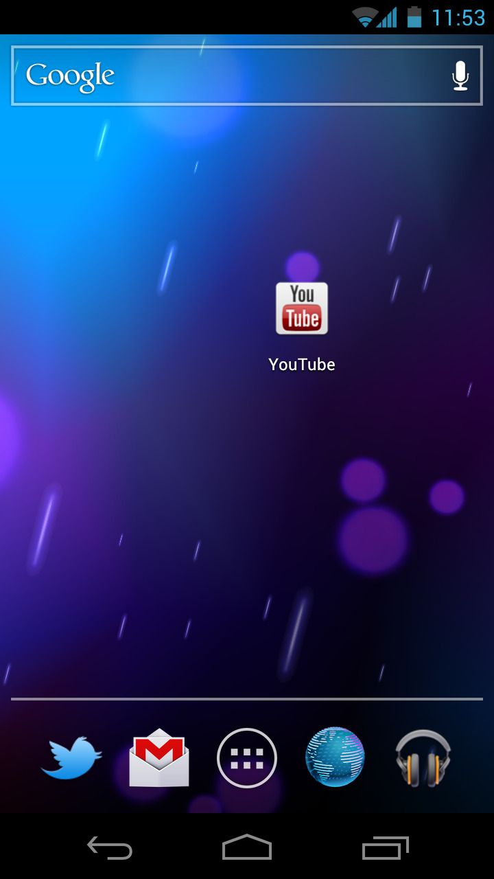 The YouTube app icon doesn't fit in with the general Ice Cream Sandwich theme. Although the YouTube app itself looks fine, the app icon needs a redesign.