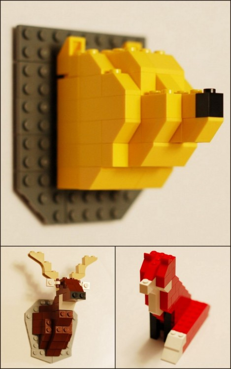 DIY Inspiration. LEGO Animals. Artist David Coles LEGO Taxidermy Kits for $28 each here.
