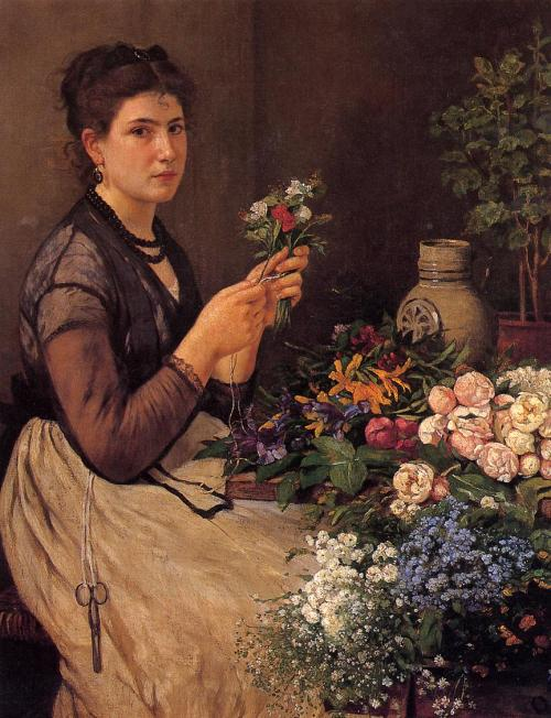 23silence:  Otto Scholderer (1834-1902) - Girl cutting flowers
