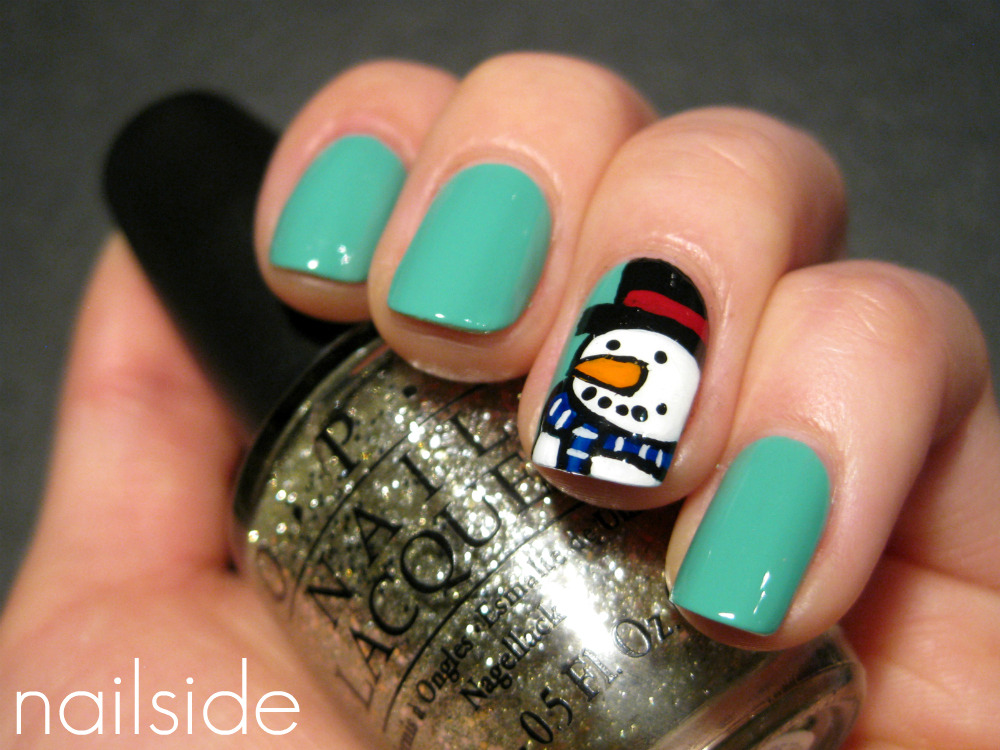 nailside:   Sweet Snowman accent nail. Design by the talented Rins from Simply Rins! ^^