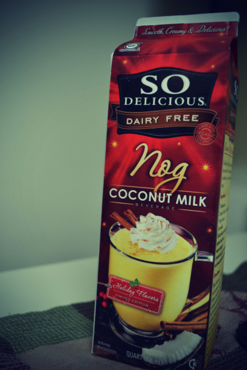 SERIOUSLY TASTY. coconut eggnog! 1/2c = 90 cal