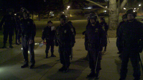 intifada:  riot police reading demand to disperse #occupysfsu~4:32am December 21st, 2011