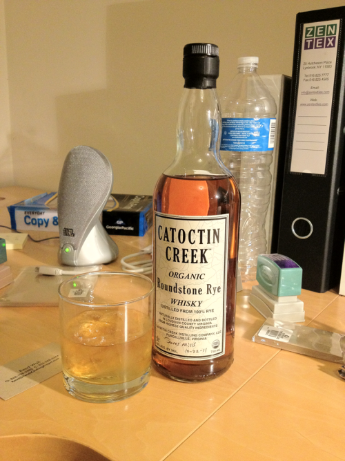 Nice way to end the day. Catoctin Creek Rye. This stuff is fucking incredible. Oh, and local, so … #FuckYeahRye