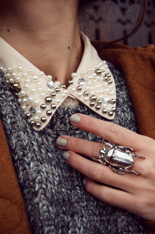 Tuesday trends. More love for this nail polish + ring combination. (Not so sure about that embellished collar trend). - PopThreads