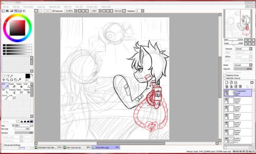 A Screenshot Work in progress for the art trade with Archive. Its my first Art trade so i'm really excited for it! Also you can see how my art usually starts of as a very messy process.