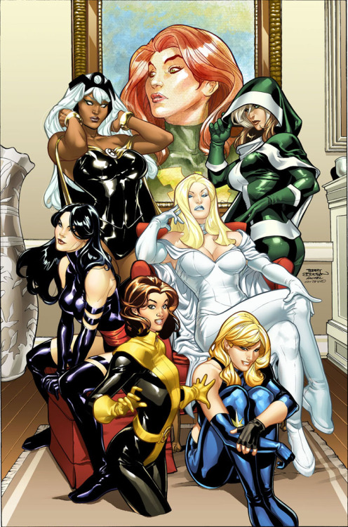 Le pin-up del giorno: X-Girls, di Terry Dodson.  keaneoncomics:  Uncanny Xmen 500 alt. cover by ~CeeCeeLuvins