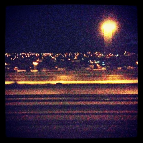 The lights of Ciudad Juarez, Mexico, and the US-Mexico fence.  (Taken with instagram)
