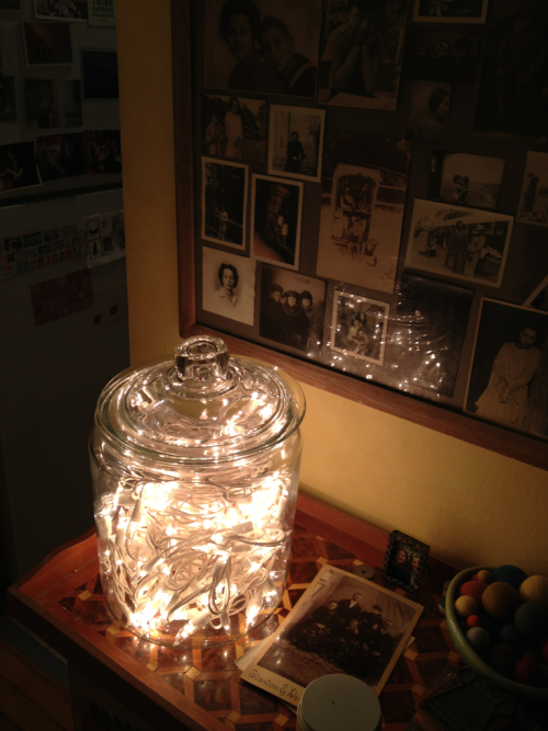 Jarred fairy lights.