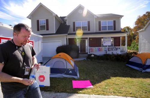 "cultureofresistance:  Foreclosures Another Opportunity for OWS to Confront The System It's been a steep learning curve for thousands of brand-new activists that have joined the  Occupy Wall Street movement. From the environment to militarism, there's a sea of  misinformation and distractions standing between protestors and their enemies. While the empty rhetoric used to claim that Occupiers ""don't know what they stand for"" falls flat to anyone actually paying attention, the ability to identify, isolate, and condemn the 1% for the theft and destruction they are responsible for has been one of the movement's greatest difficulties. Now ""Occupy Foreclosures"" has spread in popularity, with activists setting up eviction blockades and disrupting foreclosure auctions with increasing frequency. While it is a positive step, it contains the same pitfalls as confronting economic injustice. To be sure there is much good that can be done with helping individual foreclosure victims, but ultimately to stop the foreclosure epidemic Occupiers must face up to the same enemy they have so far failed to wholly accuse: Capitalism. Everyone more or less knows that there is no one or small group to blame for the foreclosure crisis, just as there is no secret cabal that forces us into a never-ending series of wars. There were borrowers who took on loans they couldn't afford, realtors who signed them up, underwriters who falsely signed off on the loans, and banks who gave the loans that they knew were unlikely to be repaid. Other bank officials securitized the loans, credit rating agencies assigned them false value, investment firms sold these bad securities to investors, and federal regulators failed to stop them. Once the crisis began, municipal, state, and federal government figures, with a few notable exceptions, failed to investigate, prosecute, or otherwise punish anyone who committed these acts. Many public officials passed new laws and regulations to protect these financial criminals and due to lobbying and insider trading even profited off of it themselves. At the same time these acts rendered their own constituents jobless, homeless, and suffering. Lawyers then set about systematically forging paperwork to help banks wrongfully foreclose on millions of people to enormous profit as corrupt and apathetic judges watched. While all of these individuals share blame, Occupiers must accept the bigger picture here. The true blame for the foreclosure crisis lays at the Capitalist system itself; one that always has and always will exist solely off of the exploitation and destruction of anyone and anything it can affect and while remaining profitable. The ""golden age of free markets"" becomes more desirable in these times of suffering but never less mythical; from slavery to the worker's & civil rights movement to the ever-expanding 21st century empire, Capitalism in America has only ever benefited those lucky enough to be wearing the boot with which they help crush and exploit the rest of the populace. The fact is we should no more be marking off the entire planet and reselling it back to individuals in the first place than commodifying these lands in order to pad the pockets of the ultra-rich. Federal powers have no more right to wield authority over individual's lives than to collude in the theft of people's livelihoods. Occupy Wall Street is evidence that most Americans have been fooled a few times too many by Capitalism's promise of an ""American Dream"" for those who are willing to be exploited by it for just awhile longer. Stopping a foreclosure is occasionally quite simple. Stopping the foreclosure crisis requires imagining a post-Capitalist world where the rich have no more power than the poor and corporations have none at all. One Struggle will continue to show solidarity with the new spirit of resistance in America, and only asks that they never stop short of anything less than a whole new society that calls theft theft and murder murder and holds all perpetrators accountable, no matter who they are or what they possess."
