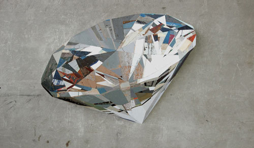 Painted crystals on scrap wood by Ron van der Ende.  Perfect.
