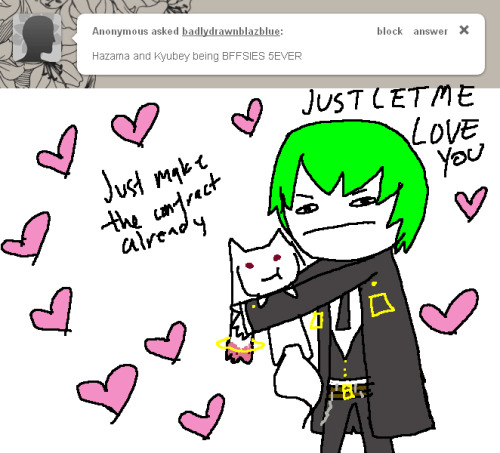 badlydrawnblazblue:  Hazama you are making Kyuubey upset please put him down.   The birth of my current drawing style wow