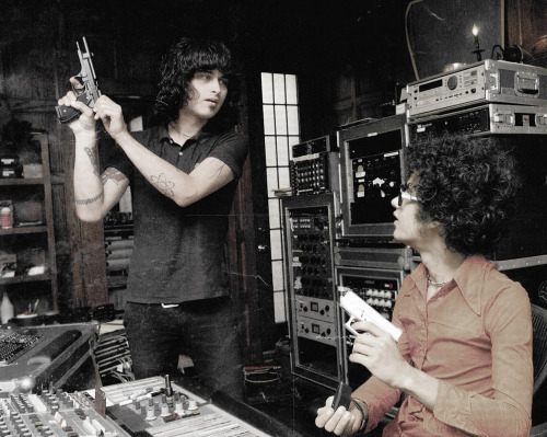 "Cedric Bixler-Zavala & Omar Rodriguez Lopez going ""Phil Spector"" in the studio."