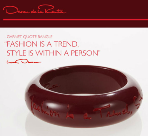 "I HAD to share this bangle from Oscar de la Renta seeing as the quote is pretty much what inspired me to go through with starting this blog (of course, after a friend encouraged the blogging)! Click here to see the other fun bangles from ""The Quote Bangle"" collection including ""Elegance is a discipline of life."" With black, white, red, and maroon, you can wear one with just about anything! —————————————————————————————————- **Find some last minute gifts in time for Christmas with one-day shipping for $3.99 at Amazon.com with Amazon Prime (worth the one month free trial if you need some last minute deals!)"