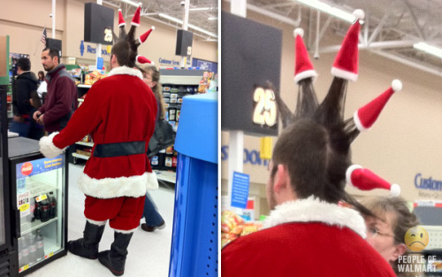 When Santa Claus feels like sporting an awesome mohawk, Santa Claus jolly well figures out how to do it with flair and without breaking character. Punk rock Santa! [photo via People of Walmart]