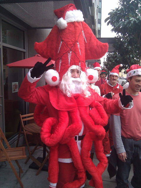Jesse Nichols shot this photo of an awesome Santa Squid that he encountered at San Francisco Santacon 2010. [via Laughing Squid]