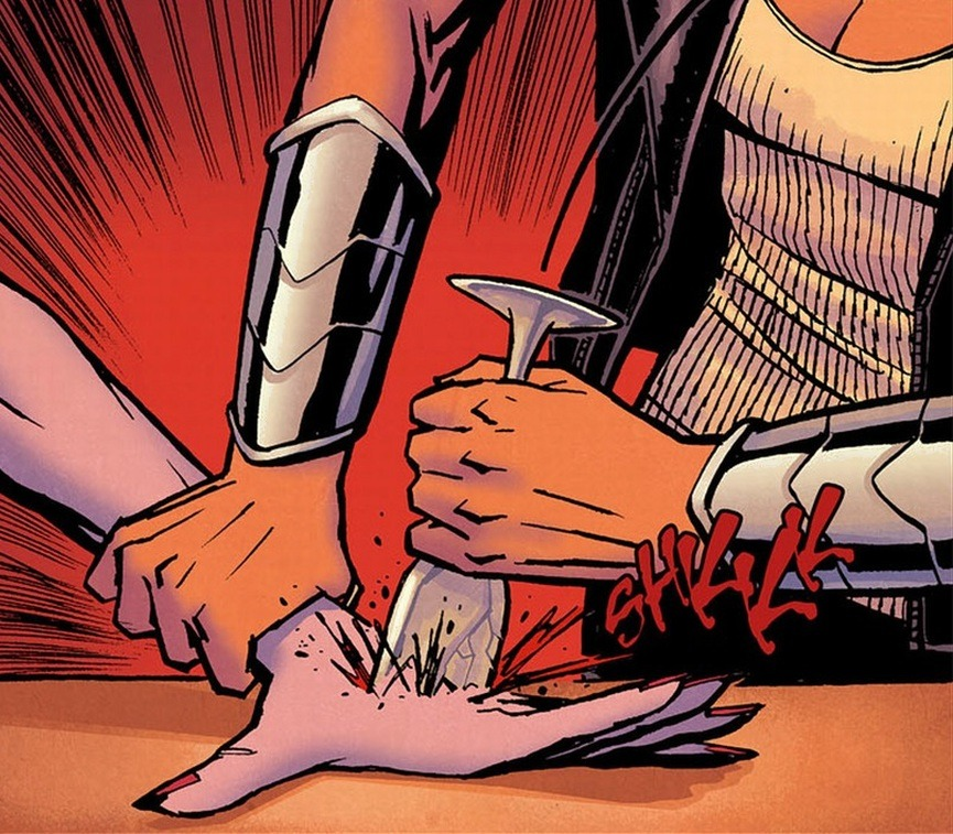 From Wonder Woman #4 by Azzarello/Chiang. (ouch!)