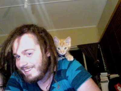 When Percy was a kitten, and my beard was bigger.