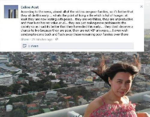 WHO THE EFF IS SHE TO SAY THOSE TO THOUSAND OF FILIPINO PEOPLE WHO DIED IN THE TRAGEDY BROUGHT  BY SENDONG?!! EFFIN BITCH. I WOULD WISH FOR SENDONG TO COME BACK AND WIPE OUT PEOPLE LIKE YOU. BV!!!
