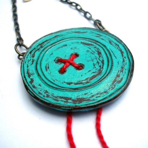 Turquoise Button Necklace with Red Thread
