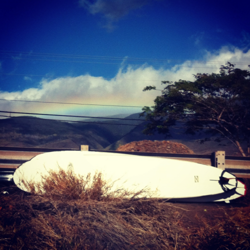 surfing today. and a rainbow. Rad