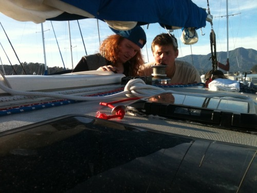 Sam and Captain 'G-Baby' Galen batten down the hatches in Sausalito harbor.