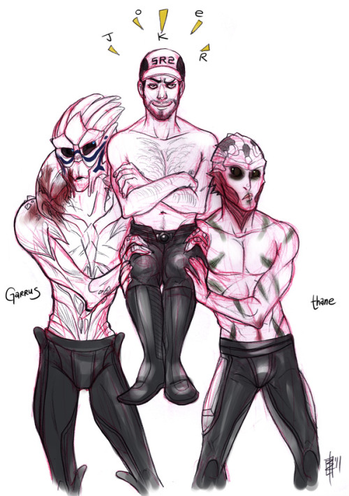 "12 Days of Sci Fi Hotties Day 10 - Garrus, Thane and Jeff ""Joker"" Moreau from Mass Effect! ——————————————————— If you don't want to miss any of the sketches, follow the Tumblr tag #12scifihotties :)"