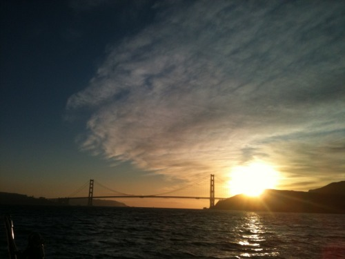On a sail boat in the middle of San Francisco Bay, watching the sun set over the Golden Gate Bridge. Not a bad way to end a tour.