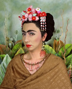 sisterwolf:  Yasumasa Morimura - An Inner Dialogue with Frida Kahlo (Hand Shaped Earring), 2001