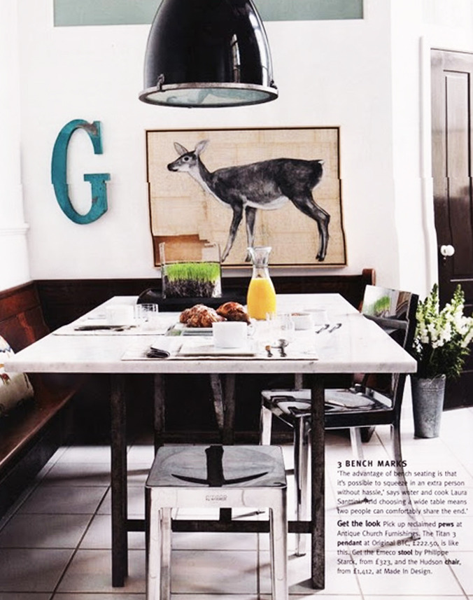 Lovely inspirational shot by Living etc magazine, featuring the Hudson chair and the Emeco stool both designed by Philippe Starck with Emeco, hand made from 80% recycled aluminium, via organic-furnishings.blogspot.com.