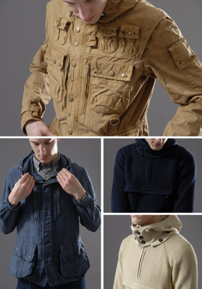 Barbour x Tokihito Yoshida Beacon Heritage Collection – Spring Summer 2012 Spring Summer 2012 sets the bar high once again, with outerwear creating the main body of the collection. Key pieces from the Autumn Winter range have been developed, none more so than theSpey Fishing Jacket. Tokihito's pursuit of functional perfection can also be found in the Vintage Cotton Hunting Jacket. A homage to everything technical, this brilliant reworking of the classic hunting jacket is awash with pockets, fastening, D-rings and straps. Available in both Sand and Olive colourways, this is a fantastic, easy to wear piece.