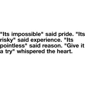 """It's impossible,"" said pride. ""It's risky"" said experience. ""It's pointless"" said reason. ""Give it a try"" whispered the heart."