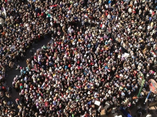 To keep the women in Tahrir square safe, protesters formed a human cordon around them.   -Egypt Today