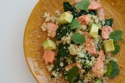 Lunch was delicious! It was quinoa topped with spinach, salmon, and avocado. I just found all of the stuff in my refrigerator and mixed it up.