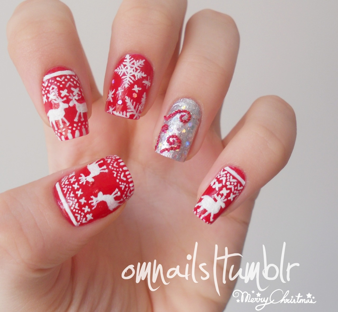 omnails:  Christmas nail art | Inspired by those weird christmas sweaters I wanted to celebrate the most wonderful time of the year with my nails decorated for it, hope you guys like it and I wish you a merry christmas!  Aww these are so cute