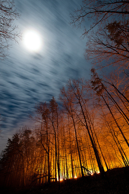 Full Moon and a Forest Fire by jon_beard on Flickr.