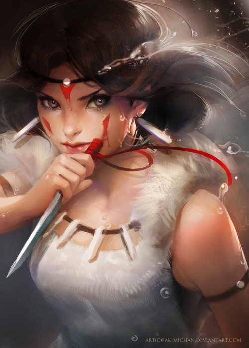horses-in-the-sky:  Princess Mononoke by =sakimichan