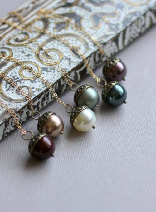 Autumn Necklace Acorn Pearl Necklace with Acorn by LRoseDesigns