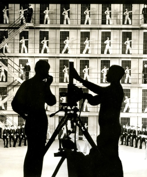 Willard Mack (right) shooting a musical sequence for Broadway to Hollywood (1933) (via)