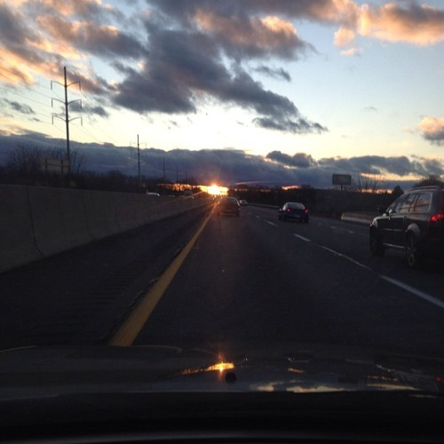 So pretty! #clouds #sun #driving #highway #car #pennsylvania #nofilter #fluffy (Taken with instagram)