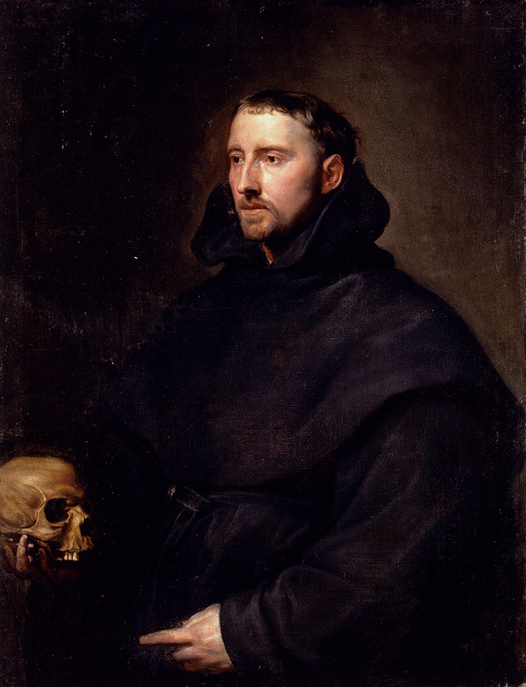 poboh:  Portrait Of A Monk Of The Benedictine Order, Holding A Skull, Anthony Van Dyck. Flemish Baroque Era Painter (1599-1641)