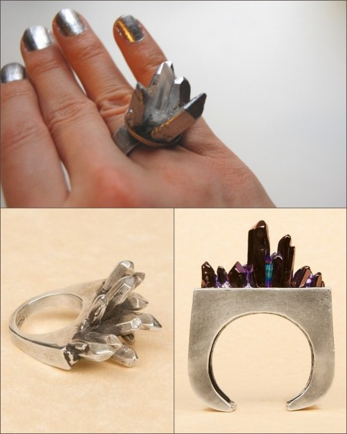 truebluemeandyou:  DIY Spiky Crystal Ring Inspired by Pamela Love FW11. Rarely do I get this excited over a tutorial, but this one has links to super cheap crystals (3/$2.25 + shipping) and the rest of the supplies you can get anywhere. It's also so much easier than it looks. Photgraphs: Top Photo: DIY, Bottom LEFT photo: Pamela Love Crystal Slice Ring - Sterling Silver $510 here, Bottom RIGHT: Pamela Love Thin Crystal Block Cuff $485 here. Tutorial by Transient Expression here.